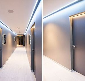 Скрытые двери под покраску с подсветкой